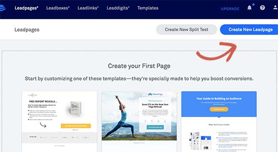 Creating a new landing page with Leadpages