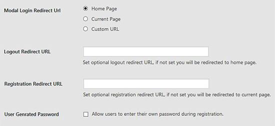 Redirect login type