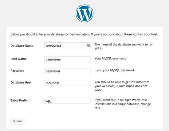 Default WordPress configuration settings