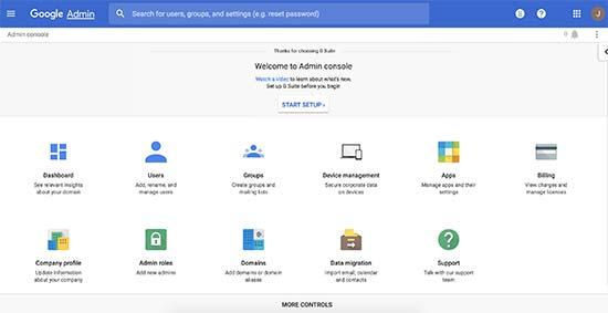 G Suite admin control panel
