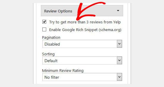 Yelp review settings