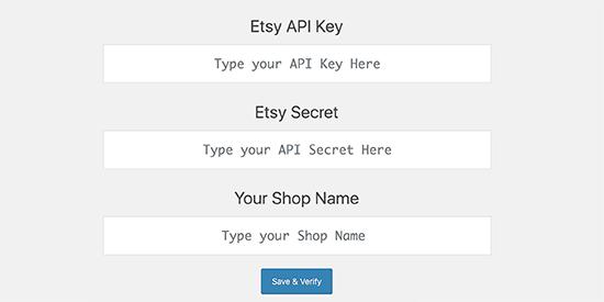 Enter Etsy app keys