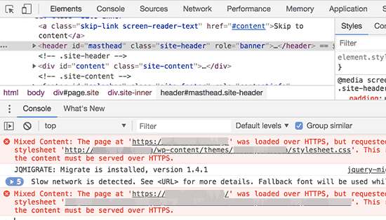 Using inspect tool to find mixed content error