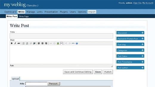 WordPress 2.0 - Admin Interface