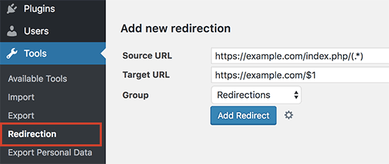 Setting up redirects