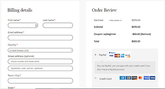 Billing details and order summary