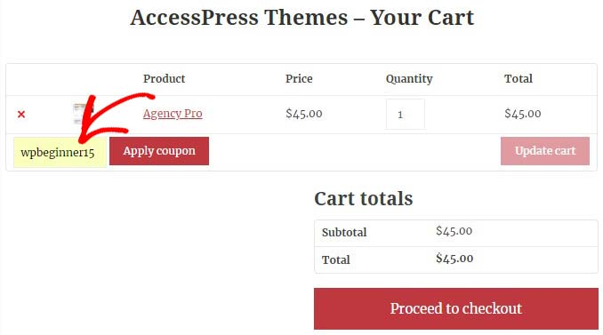 Your cart page