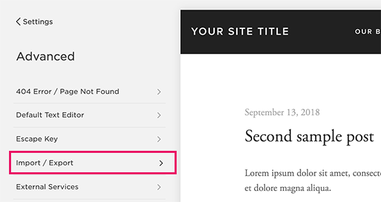 Export menu in Squarespace