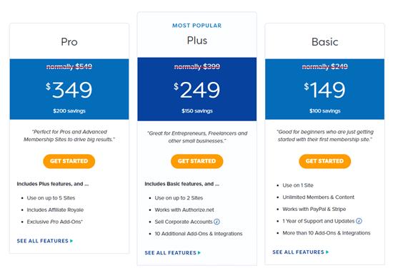 The MemberPress pricing plans