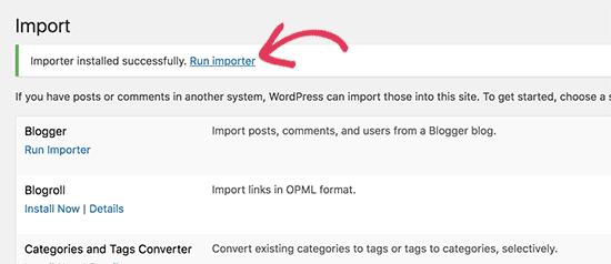 Run importer