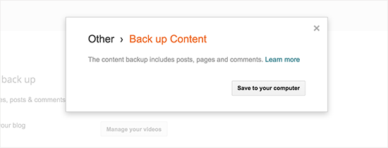 Save backup content to your computer