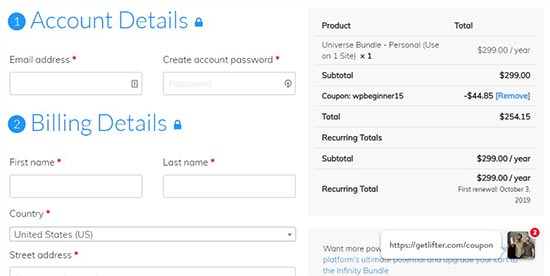Account and billing details