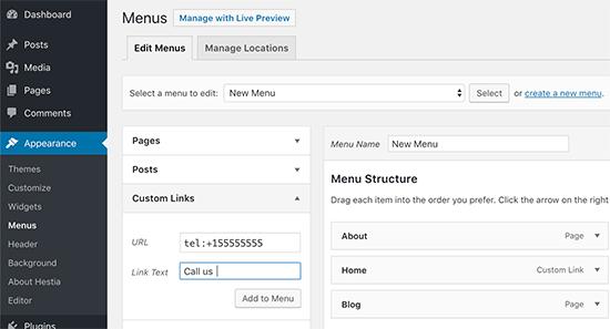Add click-to-call link to navigation menu