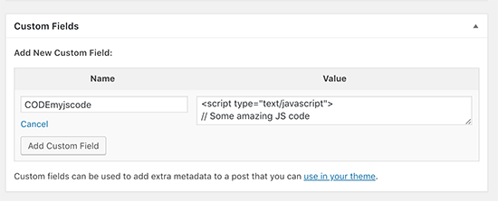Adding a JavaScript code to a custom field