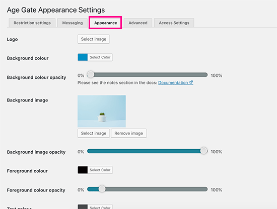 Appearance settings for age verification screen