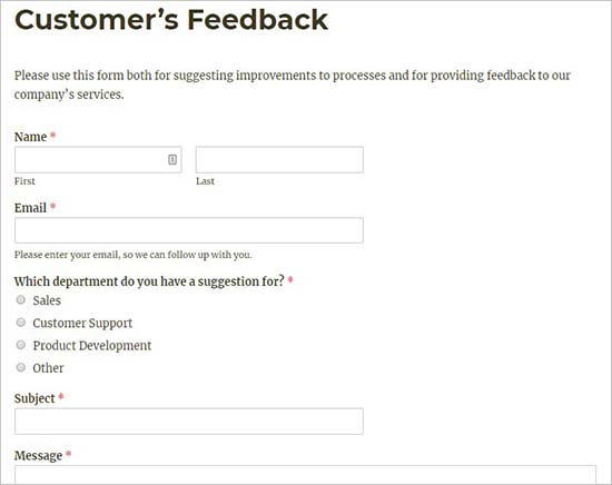 Client feedback form