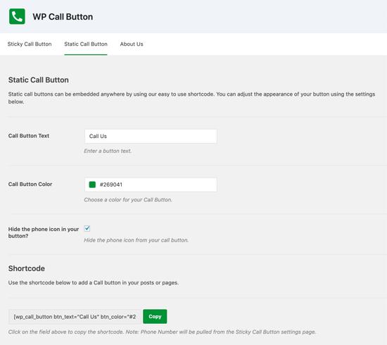 WordPress Call Button Shortcode
