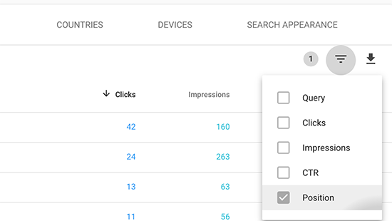 Filter keyword data by position
