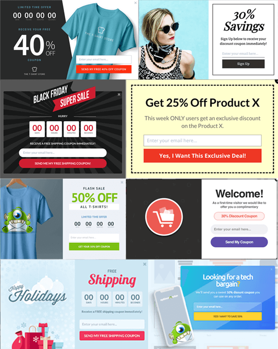 OptinMonster Coupon Popup Examples