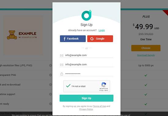 Signup to DesignEvo