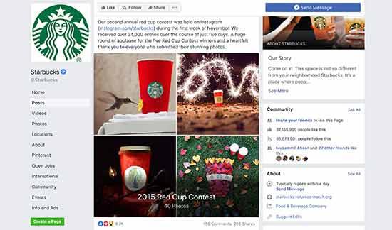 Starbucks Facebook contest