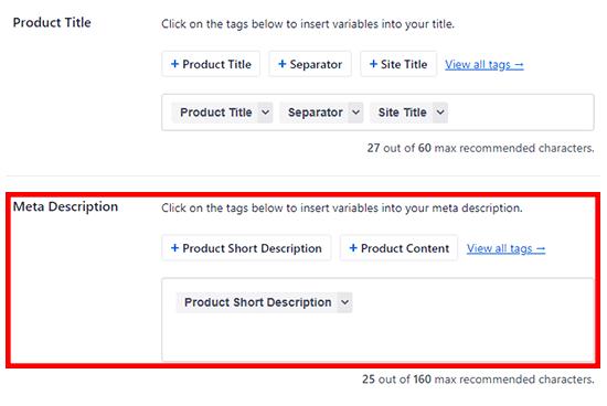 Add product SEO description