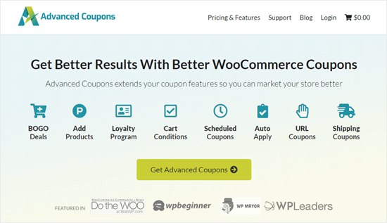 The Advanced Coupons site homepage