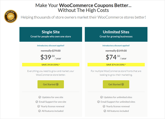 The pricing plans for Advanced Coupons