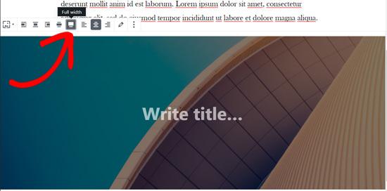 Full width cover image in WordPress block editor
