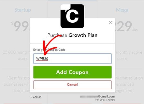 Enter coupon code