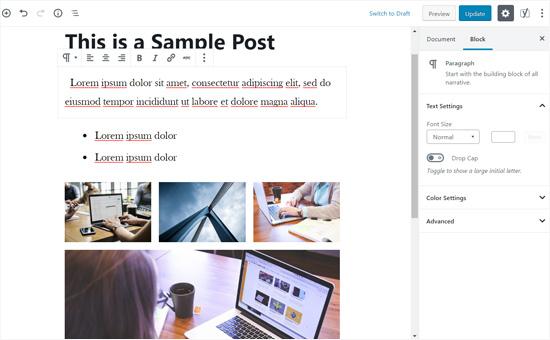 Gutenberg Post Edit Screen