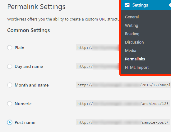 Change WordPress permalinks before importing Wix
