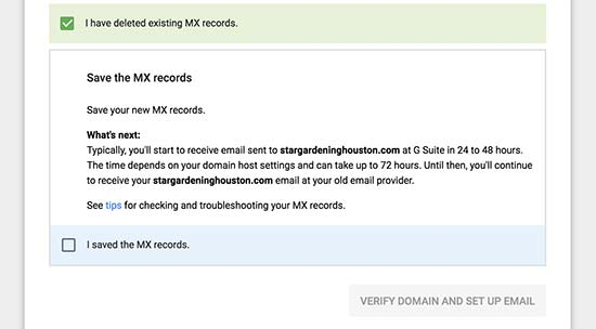 Save MX records