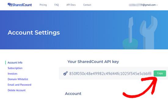 SharedCounts.com API key
