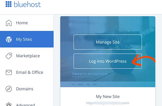 Bluehost login to your WordPress site