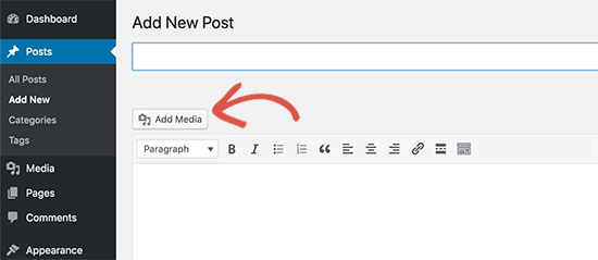 Add media button in the old classic editor
