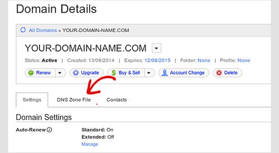 Edit DNS zone file in GoDaddy