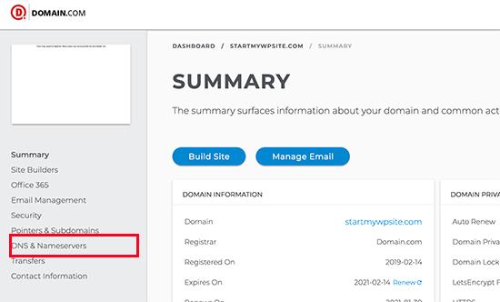Domain DNS and nameserver settings