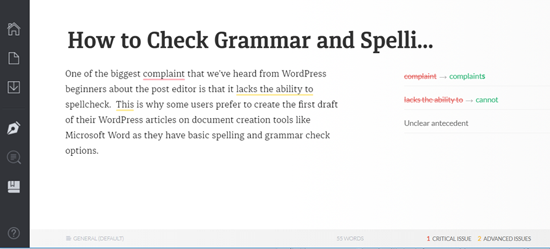 Check and Correct Grammar and Spelling Mistakes in Grammarly Web app