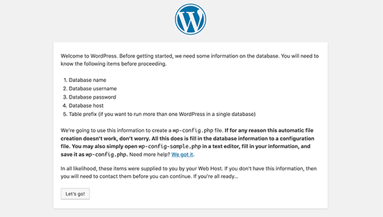 WordPress installation requirements