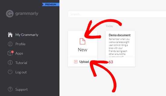 Add New Document in Grammarly Web app