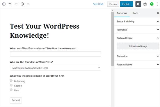 Publish Your Quiz in WordPress