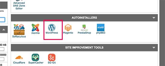 Launch WordPress installer in SiteGround