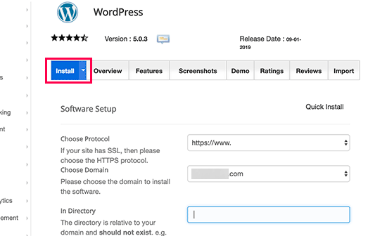 Click on the install tab to continue installing WordPress using Softaculous