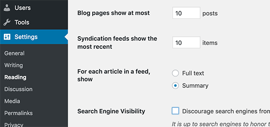 Display excerpts instead of full text to boost WordPress speed
