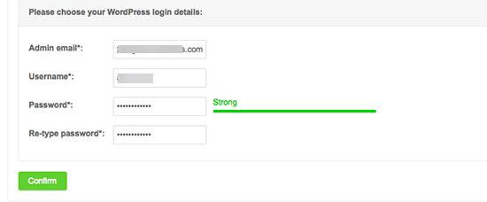 Enter WordPress login details for your installation