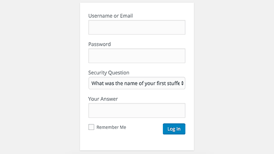 Add security question on login screen