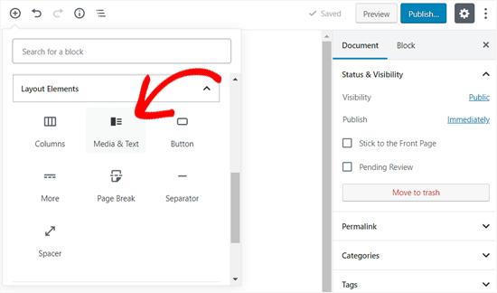 Add Media and Text Block in WordPress