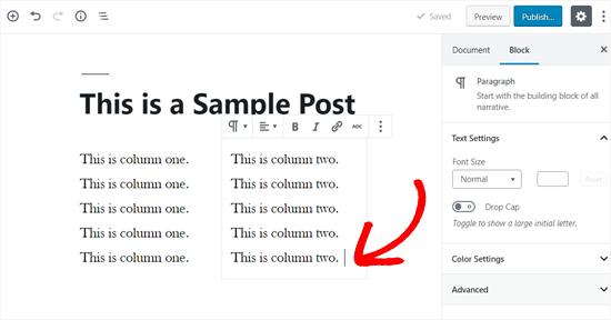 Add Text in Your WordPress Columns