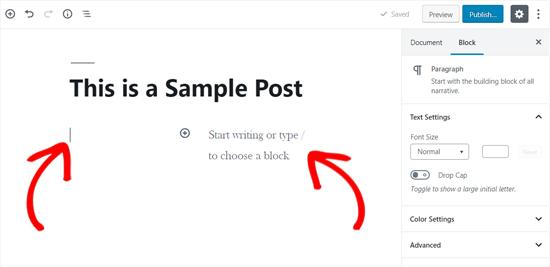 Columns block WordPress in WordPress added to post